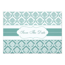 aqua damask Save the date Card