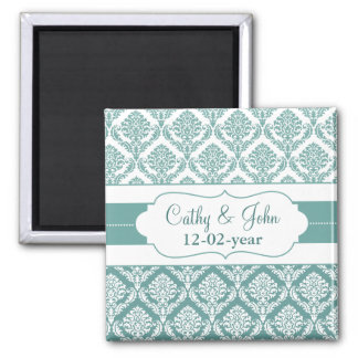 aqua damask Save the date magnet