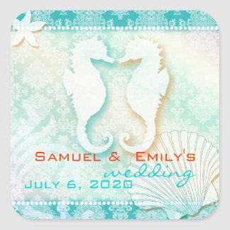 Aqua Damask Sea Horse Summer Wedding Save the Date Square Sticker