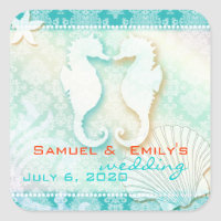Aqua Damask Sea Horse Summer Wedding Save the Date Square Stickers