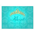 Aqua Damask Sweet 16/ tiara/turquoise invitations