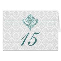aqua damask table seating card