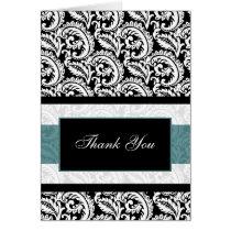 aqua  damask Thank You Card