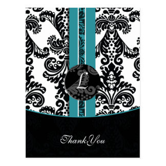 aqua damask ThankYou Cards