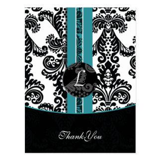 aqua damask ThankYou Cards Postcard