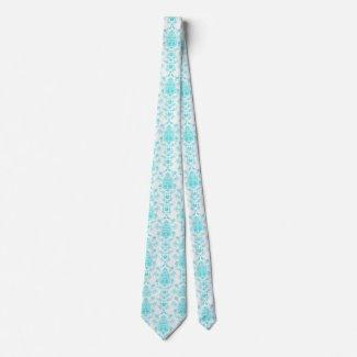 Aqua Damask Tie