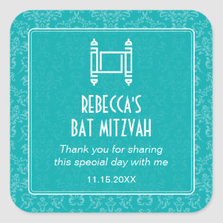 Aqua Damask Torah Bat Mitzvah Square Stickers