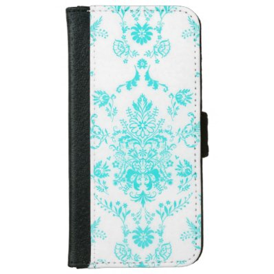Aqua Damask Wallet Phone Case For iPhone 6/6S