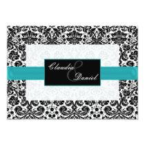 aqua  damask wedding invitation