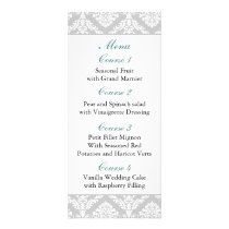 aqua damask Wedding menu
