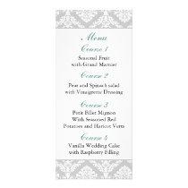 aqua damask Wedding menu