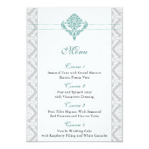 aqua damask wedding menu card
