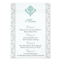 aqua damask wedding menu card