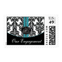 aqua Damask Wedding monogram Postage