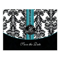 aqua damask wedding monogram save the date postcard