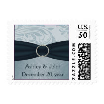 aqua damask wedding postage