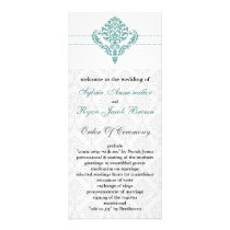 aqua damask Wedding program