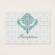 aqua damask wedding Reception Cards