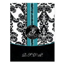 aqua damask  Wedding rsvp card