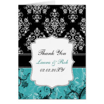 aqua damask wedding Thank You Card