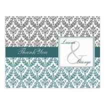 aqua damask wedding Thank You Postcard