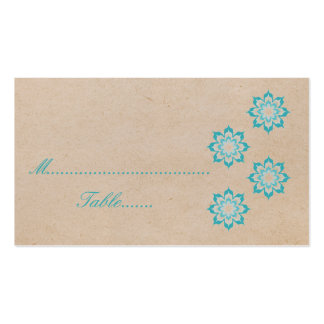 Aqua Daring Floral Blooms Wedding Place Card Business Card Template