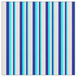 [ Thumbnail: Aqua, Dark Blue, and White Lines/Stripes Pattern Fabric ]