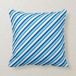 [ Thumbnail: Aqua, Dark Blue, and White Lines/Stripes Pattern Throw Pillow ]