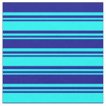 [ Thumbnail: Aqua & Dark Blue Colored Stripes Pattern Fabric ]