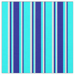 [ Thumbnail: Aqua, Dark Blue & Light Yellow Lined Pattern Fabric ]