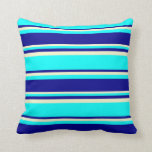 [ Thumbnail: Aqua, Dark Blue & Light Yellow Lined Pattern Throw Pillow ]