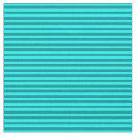 [ Thumbnail: Aqua & Dark Cyan Colored Lines Pattern Fabric ]