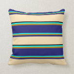 [ Thumbnail: Aqua, Dark Goldenrod, Midnight Blue, Beige & Black Throw Pillow ]