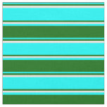 [ Thumbnail: Aqua, Dark Green & Beige Stripes Fabric ]