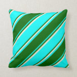 [ Thumbnail: Aqua, Dark Green & Beige Stripes Throw Pillow ]