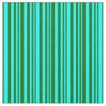 [ Thumbnail: Aqua & Dark Green Colored Lines/Stripes Pattern Fabric ]