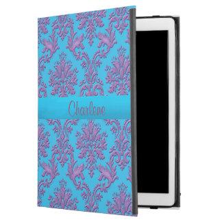 Aqua Dark Pink Damask Personalized iPad Air 2 Case