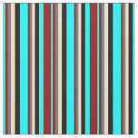 [ Thumbnail: Aqua, Dark Red, Dim Grey, Tan, and Black Colored Fabric ]