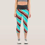 [ Thumbnail: Aqua, Dark Red & Light Yellow Colored Stripes Leggings ]