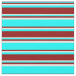 [ Thumbnail: Aqua, Dark Red & Light Yellow Colored Stripes Fabric ]