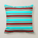 [ Thumbnail: Aqua, Dark Red & Light Yellow Colored Stripes Throw Pillow ]