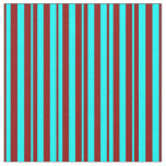 [ Thumbnail: Aqua & Dark Red Striped Pattern Fabric ]
