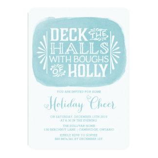 Aqua Deck the Halls Watercolor Holiday Invitation
