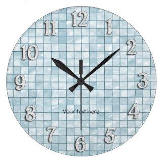 Aqua Decorative Tile Design Large Clock