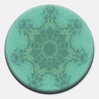 Aqua Depth Mandala Classic Round Sticker