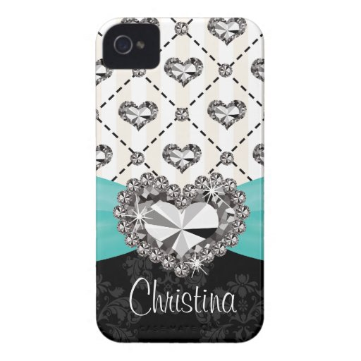Aqua Diamond Heart Rhinestone Blackberry Bold Case