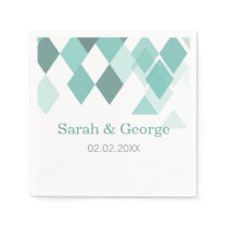 Aqua diamonds Geometrical personalized napkins