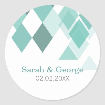 Aqua diamonds Geometrical Wedding favors stickers