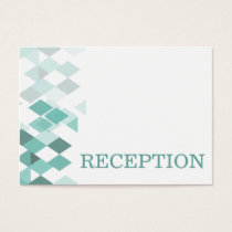 Aqua diamonds Geometrical wedding reception invite