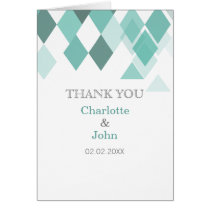 Aqua diamonds Geometrical wedding Thank You cards